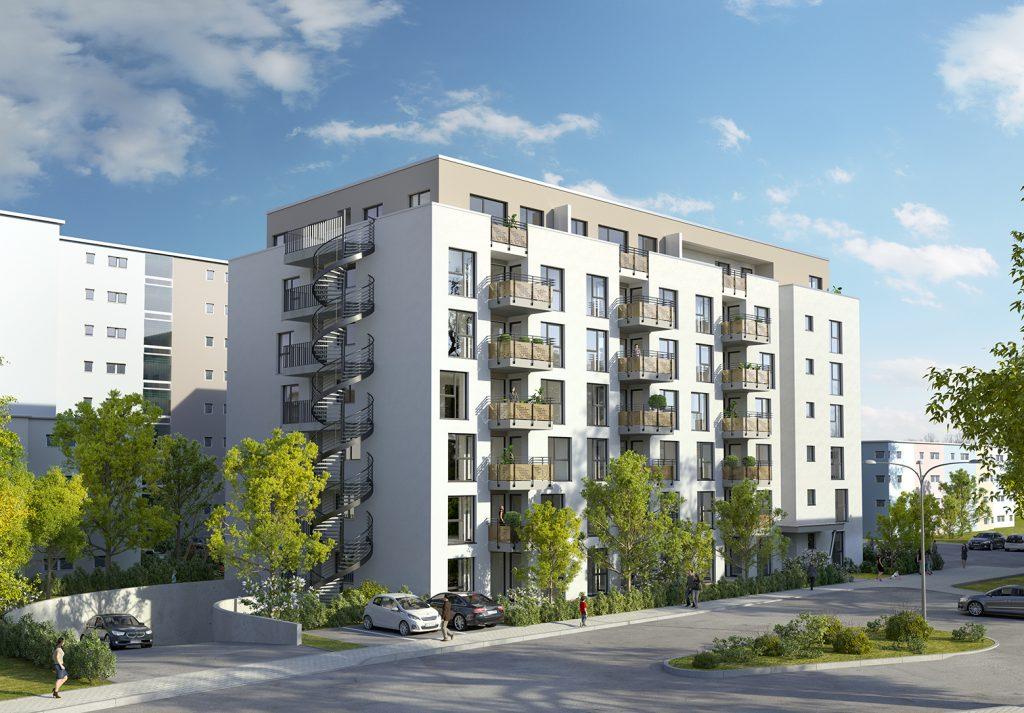 Hanau_Gebäudeansicht mit TG-Zufahrt